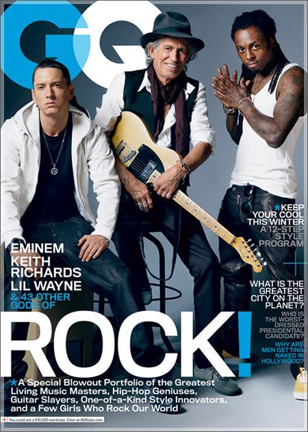 Eminem, Lil Wayne et Keith Richards en couverture de GQ