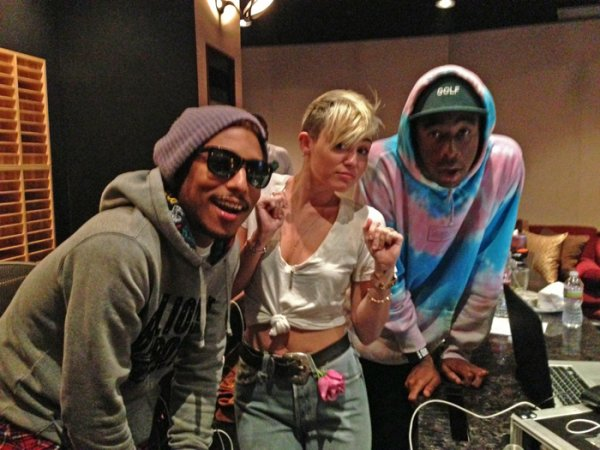 Pharrell, Tyler The Creator et Miley Cyrus en studio