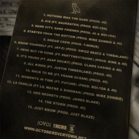 Drake : tracklist de Nothing Was The Same ?