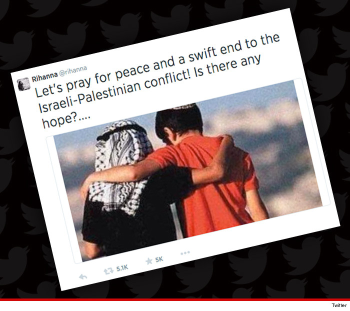Rihanna tweete pour la paix entre Israël et Palestine