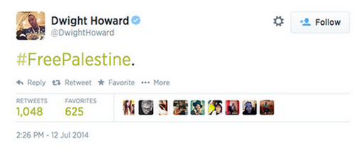 Dwight Howard tweete FreePalestine